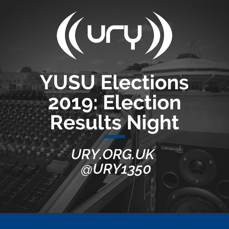 YUSU Elections 2019: Election Results Night logo.
