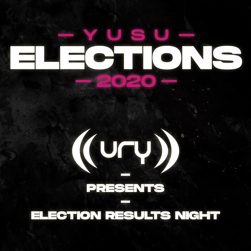 YUSU Elections 2020: Election Results Night logo.