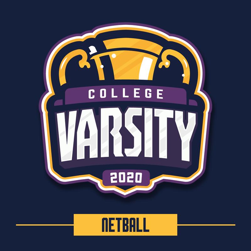 College Varsity 2020: Netball logo.