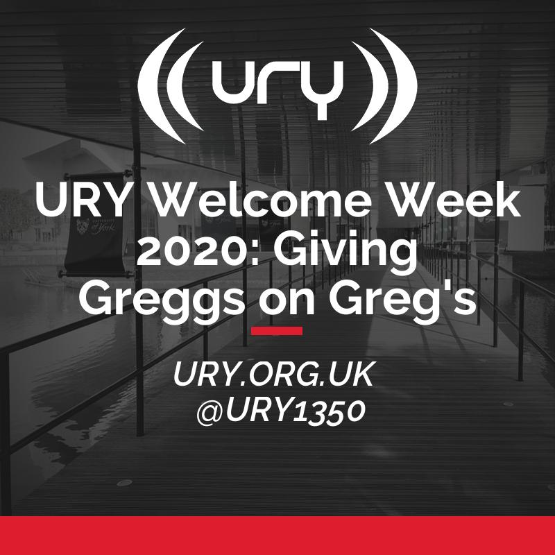 URY Welcome Week 2020: Giving Greggs on Greg's logo.