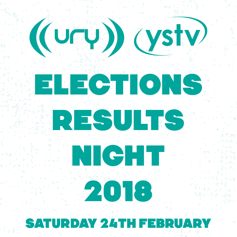 YUSU Elections 2018: Election Results Night logo.
