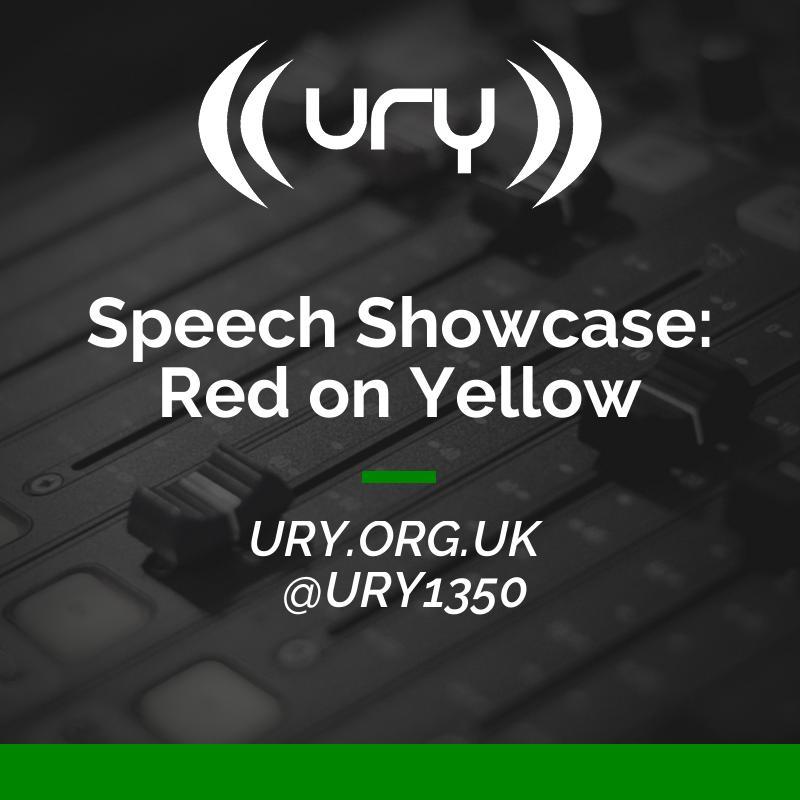 Speech Showcase: Red on Yellow logo.